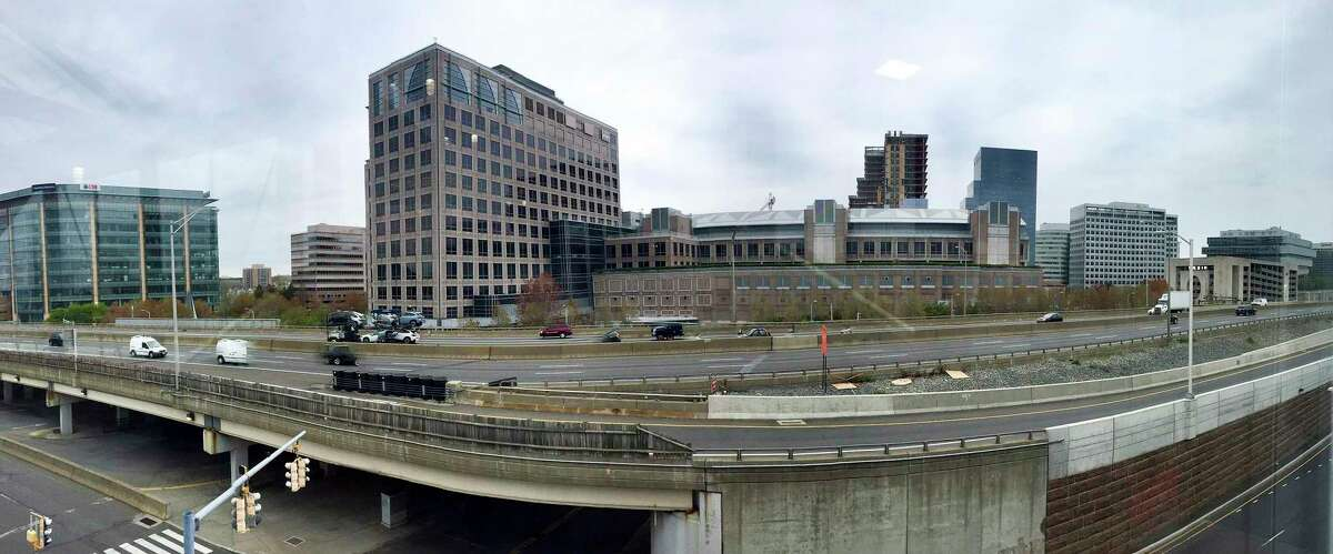 A view of Stamford, Connecticut city skyline, captured on April 29, 2020 from the Stamford train station.