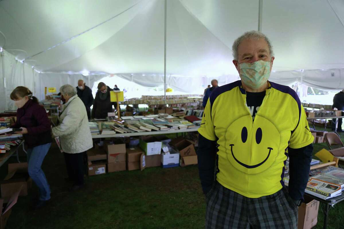 Doug Fried, chair of the Pequot Library's Sping Fling Book Sale, on Friday, April 23, 2021, in Fairfield, Conn.
