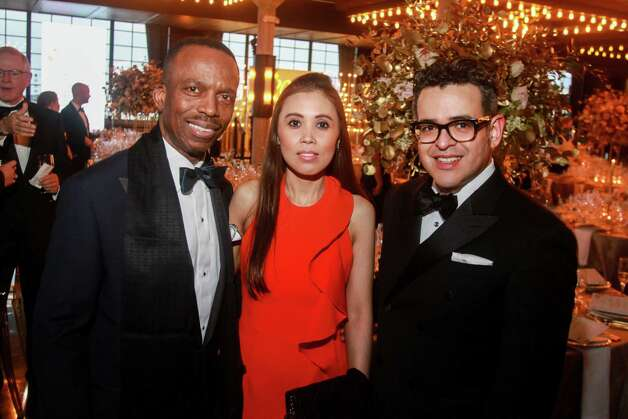 Astley Blair, from left, Vivianna Jolie and Mario Gudmundsson at the Houston Symphony Wine Auction and Collector's Dinner on April 23, 2021. Photo: Gary Fountain, Contributor / Copyright 2021 Gary Fountain