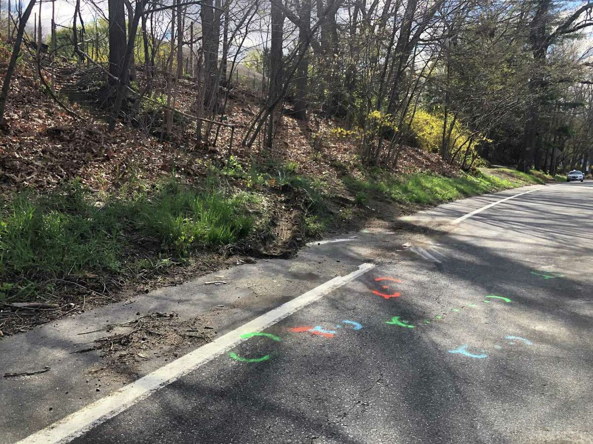 The area where police say there was a triple fatal crash on Route 34 in Seymour, Conn., around 10 p.m. Wednesday, April 21, 2021.