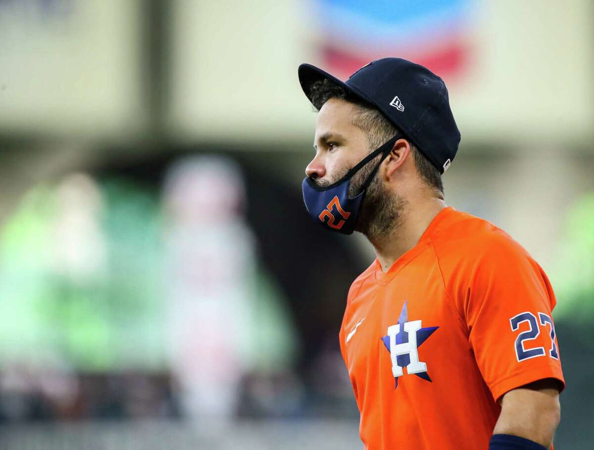 Houston Astros second baseman Jose Altuve (27) seen on the field before an MLB game between the Astros and the Los Angeles Angels at Minute Maid Park on Saturday, April 24, 2021, in Houston. Altuve is not yet back in the lineup since being placed in the COVID-19 list on April 14.