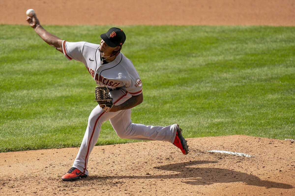 San Francisco Giants relief pitcher Camilo Doval throws a pitch during the seventh inning of a baseball game against the Philadelphia Phillies, Wednesday, April 21, 2021, in Philadelphia. The Phillies won 6-5. (AP Photo/Chris Szagola)