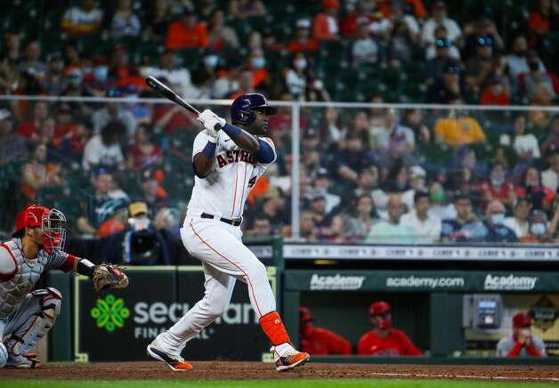 Houston Astros designated hitter Yordan Alvarez (44) hits a three-RBI triple against the Los Angeles Angels during the fifth inning of an MLB game at Minute Maid Park on Saturday, April 24, 2021, in Houston. Photo: Godofredo A Vásquez/Staff Photographer / © 2021 Houston Chronicle