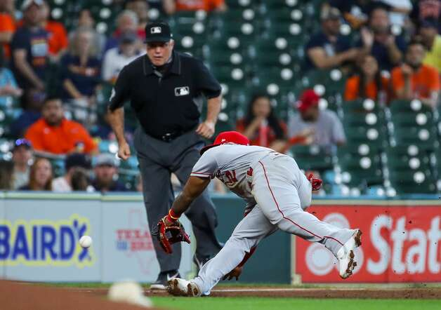 Los Angeles Angels second baseman Luis Rengifo (2) is unable to get to a ball hit by Houston Astros center fielder Myles Straw (3) during the fourth inning of an MLB game at Minute Maid Park on Saturday, April 24, 2021, in Houston. Photo: Godofredo A Vásquez/Staff Photographer / © 2021 Houston Chronicle