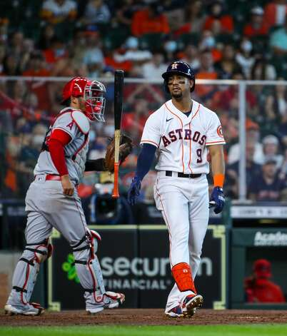 Houston Astros second baseman Robel Garcia (9) strikes out to end the fourth inning of an MLB game against the Los Angeles Angels at Minute Maid Park on Saturday, April 24, 2021, in Houston. Photo: Godofredo A Vásquez/Staff Photographer / © 2021 Houston Chronicle