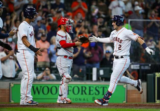 Houston Astros third baseman Alex Bregman (2) celebrates after hitting a three-run home run against the Los Angeles Angels during the third inning of an MLB game at Minute Maid Park on Saturday, April 24, 2021, in Houston. Photo: Godofredo A Vásquez/Staff Photographer / © 2021 Houston Chronicle