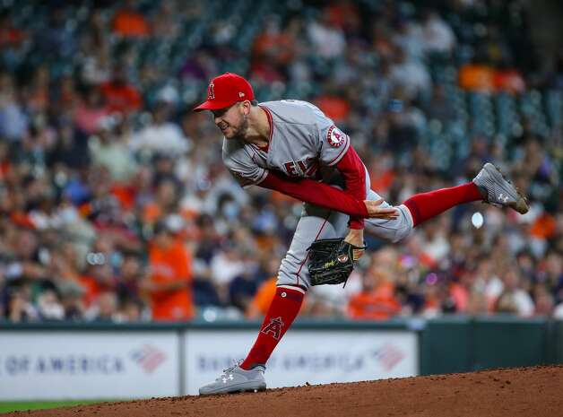 Los Angeles Angels starting pitcher Griffin Canning (47) throws against the Houston Astros during the first inning of an MLB game at Minute Maid Park on Saturday, April 24, 2021, in Houston. Photo: Godofredo A Vásquez/Staff Photographer / © 2021 Houston Chronicle