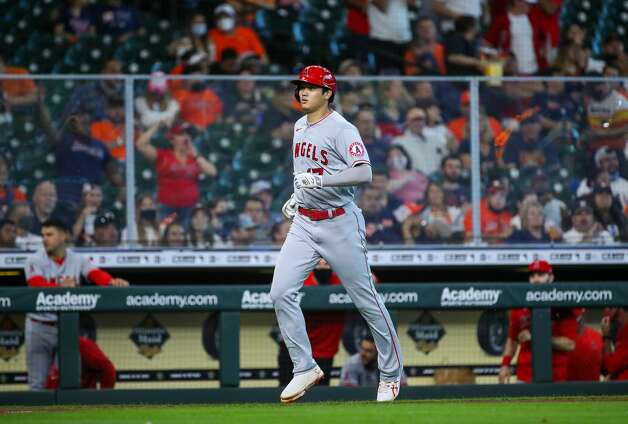 Los Angeles Angels designated hitter Shohei Ohtani (17) hits a solo home run against the Houston Astros during the third inning of an MLB game at Minute Maid Park on Saturday, April 24, 2021, in Houston. Photo: Godofredo A Vásquez/Staff Photographer / © 2021 Houston Chronicle