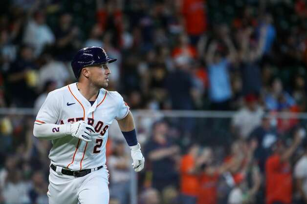 Houston Astros third baseman Alex Bregman (2) rounds the bases after hitting a three-run home run against the Los Angeles Angels during the third inning of an MLB game at Minute Maid Park on Saturday, April 24, 2021, in Houston. Photo: Godofredo A Vásquez/Staff Photographer / © 2021 Houston Chronicle