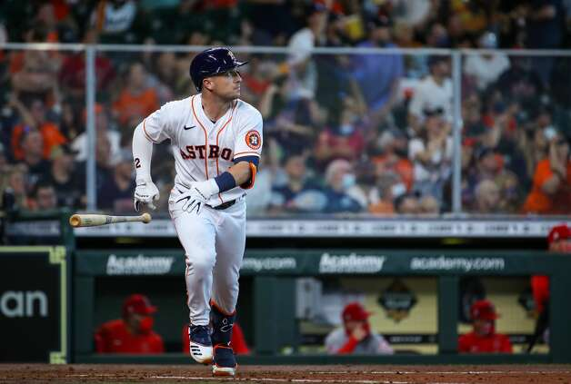 Houston Astros third baseman Alex Bregman (2) hits a three-run home run against the Los Angeles Angels during the third inning of an MLB game at Minute Maid Park on Saturday, April 24, 2021, in Houston. Photo: Godofredo A Vásquez/Staff Photographer / © 2021 Houston Chronicle