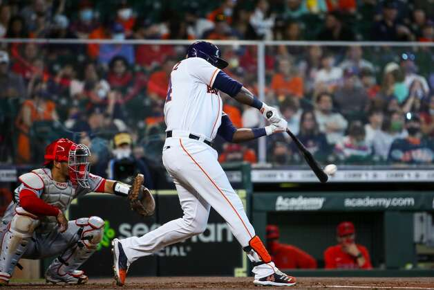 Houston Astros designated hitter Yordan Alvarez (44) hits an RBI single against the Los Angeles Angels during the first inning of an MLB game at Minute Maid Park on Saturday, April 24, 2021, in Houston. Photo: Godofredo A Vásquez/Staff Photographer / © 2021 Houston Chronicle