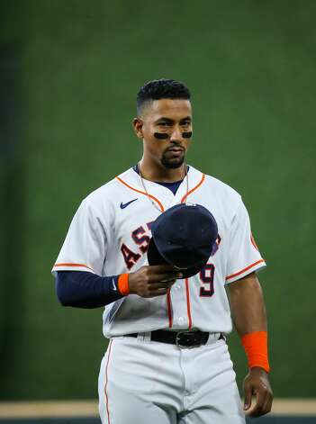 Houston Astros second baseman Robel Garcia (9) before an MLB game against the Los Angeles Angels at Minute Maid Park on Saturday, April 24, 2021, in Houston. Photo: Godofredo A Vásquez/Staff Photographer / © 2021 Houston Chronicle