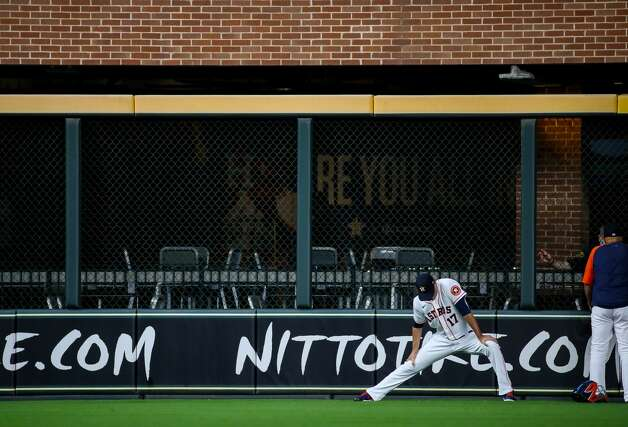 Houston Astros starting pitcher Jake Odorizzi (17) stretches before an MLB game against the Los Angeles Angels at Minute Maid Park on Saturday, April 24, 2021, in Houston. Photo: Godofredo A Vásquez/Staff Photographer / © 2021 Houston Chronicle