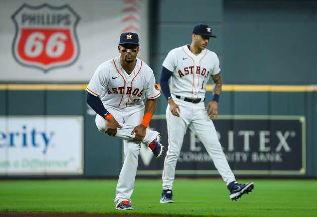Houston Astros second baseman Robel Garcia (9) stretches before an MLB game against the Los Angeles Angels at Minute Maid Park on Saturday, April 24, 2021, in Houston. Photo: Godofredo A Vásquez/Staff Photographer / © 2021 Houston Chronicle