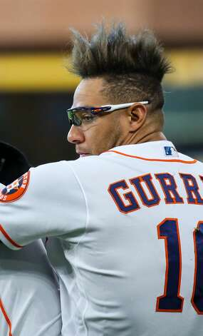 Houston Astros first baseman Yuli Gurriel (10) before an MLB game against the Los Angeles Angels at Minute Maid Park on Saturday, April 24, 2021, in Houston. Photo: Godofredo A Vásquez/Staff Photographer / © 2021 Houston Chronicle
