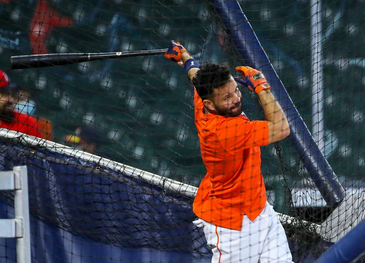Houston Astros second baseman Jose Altuve (27) participates in batting practice before an MLB game between the Astros and the Los Angeles Angels at Minute Maid Park on Saturday, April 24, 2021, in Houston. Altuve is not yet back in the lineup since being placed in the COVID-19 list on April 14.