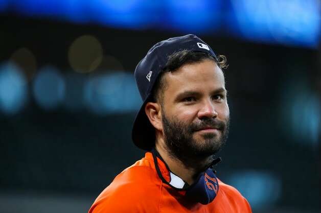 Houston Astros second baseman Jose Altuve (27) seen on the field before an MLB game between the Astros and the Los Angeles Angels at Minute Maid Park on Saturday, April 24, 2021, in Houston. Altuve is not yet back in the lineup since being placed in the COVID-19 list on April 14. Photo: Godofredo A Vásquez/Staff Photographer / © 2021 Houston Chronicle
