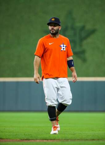 Houston Astros second baseman Jose Altuve (27) takes the field for some training before an MLB game between the Astros and the Los Angeles Angels at Minute Maid Park on Saturday, April 24, 2021, in Houston. Altuve is not yet back in the lineup since being placed in the COVID-19 list on April 14. Photo: Godofredo A Vásquez/Staff Photographer / © 2021 Houston Chronicle