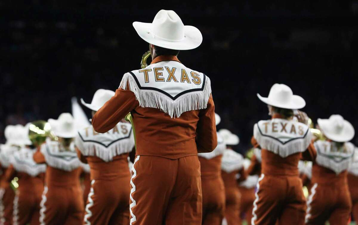 The Longhorn Band of the University of Texas at Austin performed during the opening of the 2017 Academy Sports + Outdoors Texas Bowl game at NRG Stadium on Wednesday, Dec. 27, 2017, in Houston.