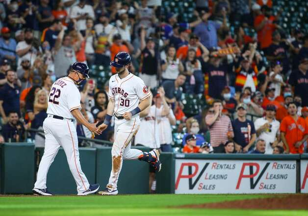 Houston Astros right fielder Kyle Tucker (30) rounds the bases after hitting a two-run home run against the Los Angeles Angels during the eighth inning of an MLB game at Minute Maid Park on Saturday, April 24, 2021, in Houston. Photo: Godofredo A Vásquez/Staff Photographer / © 2021 Houston Chronicle