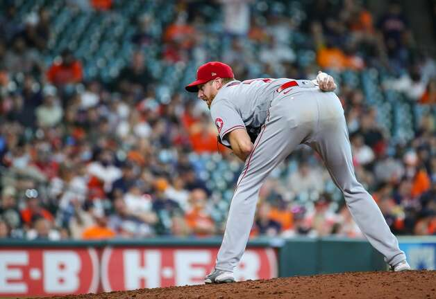 Los Angeles Angels relief pitcher Ben Rowen (71) throws against the Houston Astros during the seventh inning of an MLB game at Minute Maid Park on Saturday, April 24, 2021, in Houston. Photo: Godofredo A Vásquez/Staff Photographer / © 2021 Houston Chronicle