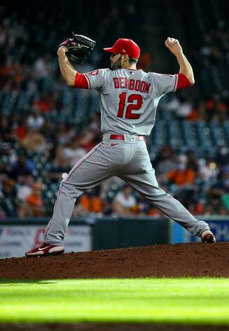 Los Angeles Angels catcher Anthony Bemboom (12) pitches against the Houston Astros during the eighth inning of an MLB game at Minute Maid Park on Saturday, April 24, 2021, in Houston. Photo: Godofredo A Vásquez/Staff Photographer / © 2021 Houston Chronicle