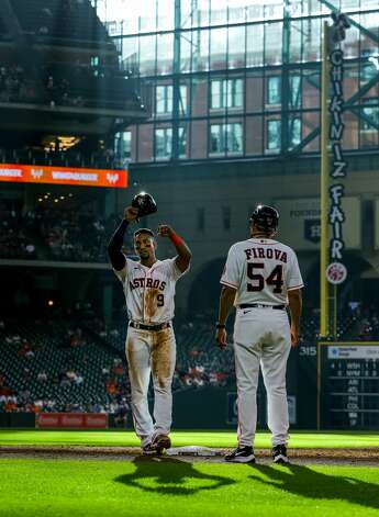 Houston Astros second baseman Robel Garcia (9) after grounding out against the Los Angeles Angels during the eighth inning of an MLB game at Minute Maid Park on Saturday, April 24, 2021, in Houston. Photo: Godofredo A Vásquez/Staff Photographer / © 2021 Houston Chronicle