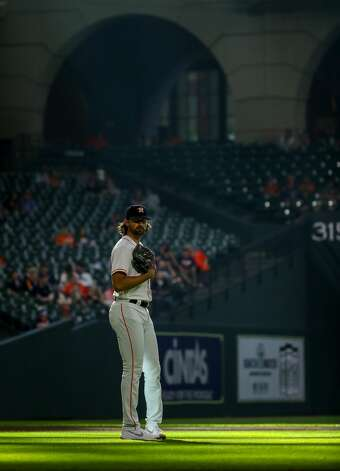 Houston Astros relief pitcher Kent Emanuel (0) during the eighth inning of an MLB game against the Los Angeles Angels at Minute Maid Park on Saturday, April 24, 2021, in Houston. Photo: Godofredo A Vásquez/Staff Photographer / © 2021 Houston Chronicle