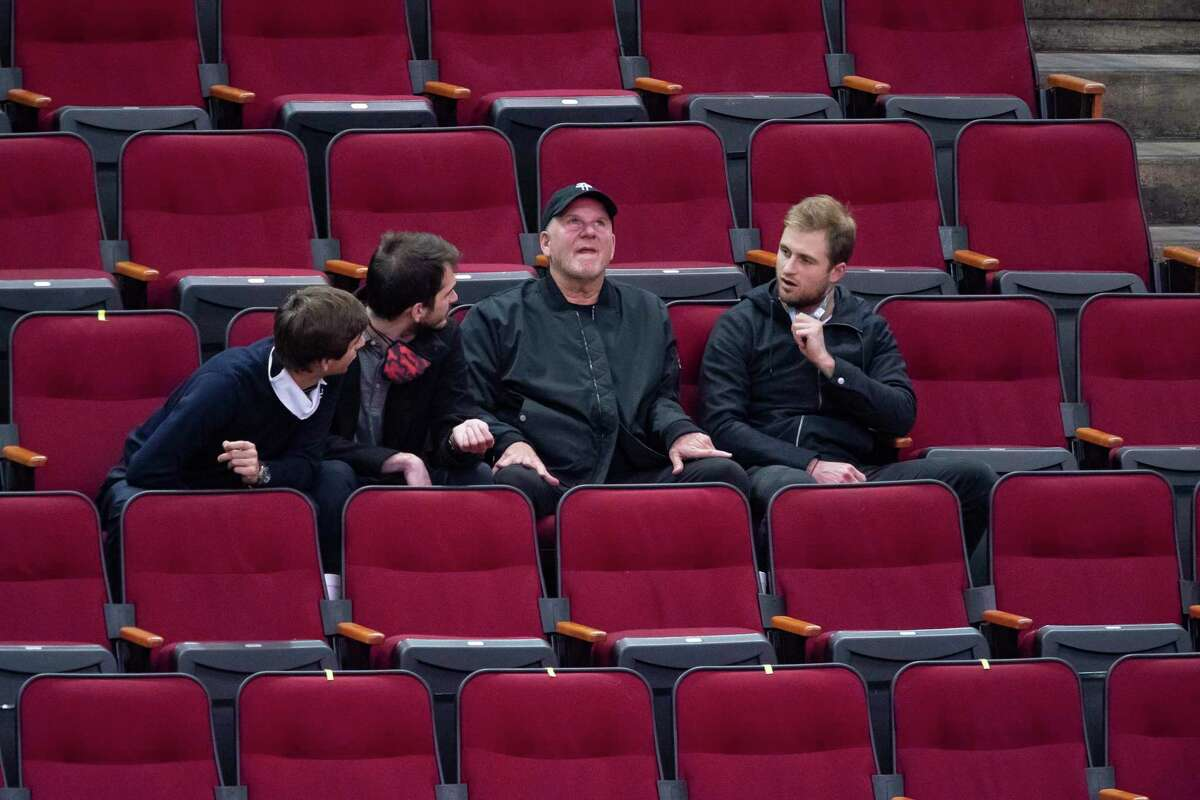 Houston Rockets owner Tilman Fertitta, watching a game earlier this season, knows it will be a process for the team to return to contenders for NBA title.