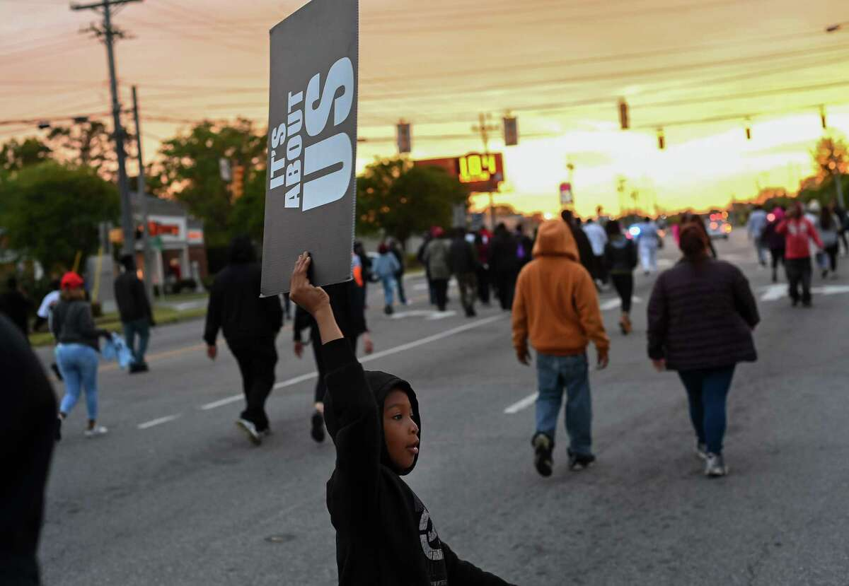 People protest the fatal shooting of Andrew Brown Jr. sheriff's deputy on April 23, 2021, in Elizabeth City, N.C.