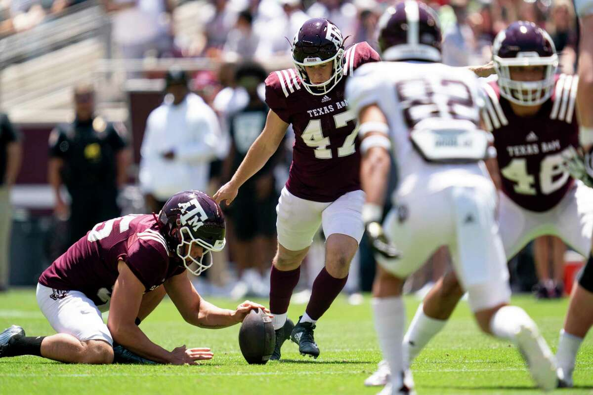 Seth Small (47) made 11 of 13 field goals last season but wasn't asked to make any long-yardage boots for the Aggies.