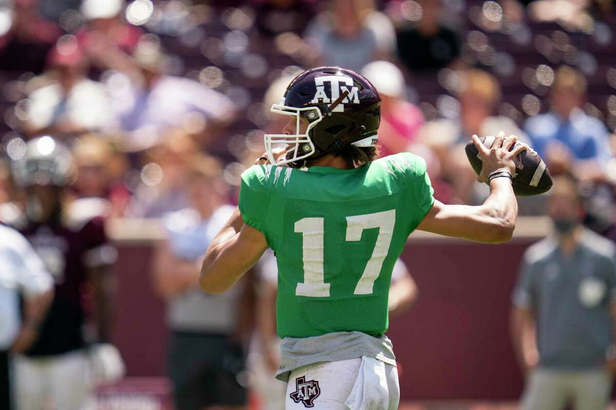 Quarterback Eli Stowers, seen here during Texas A&M's Maroon and White spring game in April, is moving to tight end for the time being.