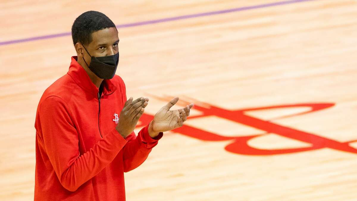 Houston Rockets head coach Stephen Silas takes a timeout during the third quarter of an NBA game between the Houston Rockets and Indiana Pacers on Wednesday, April 14, 2021, at Toyota Center in Houston.