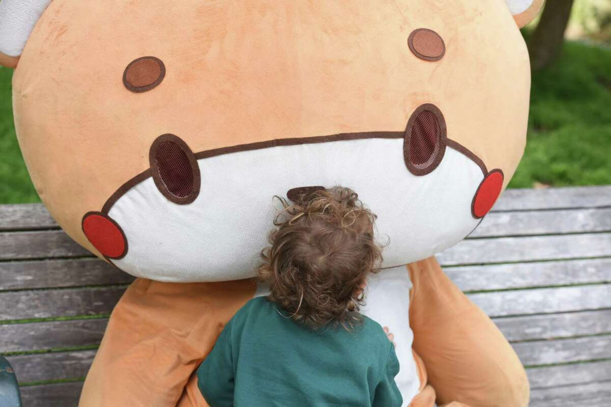 Max Lory, 3, of San Jose greets Jesse Larios in the suit of his character, Bearsun, in Golden Gate Park,