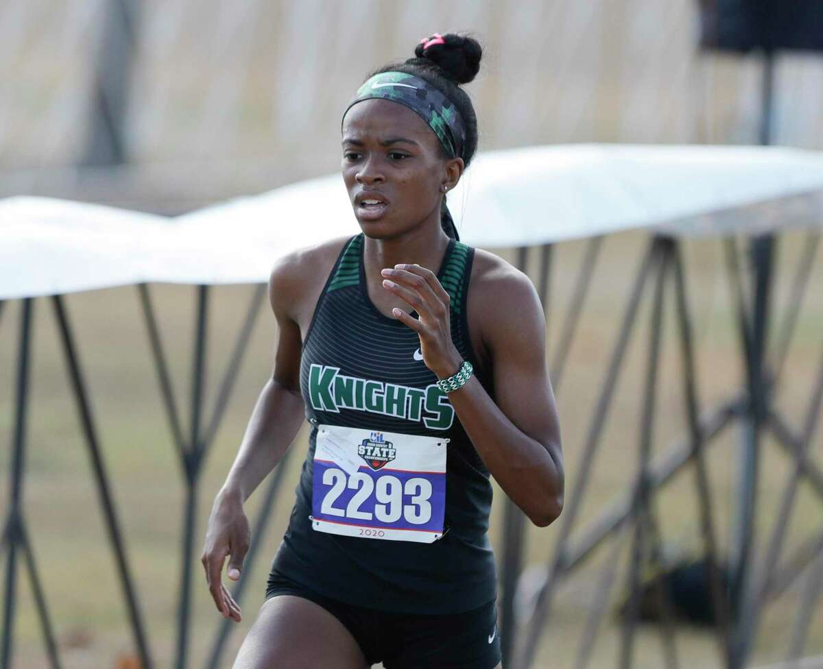 Kennedy Wade of Clear Falls, shown at the state cross country meet in 2020, qualified for three state events at the Region 3-6A track and field championships Saturday in Humble.