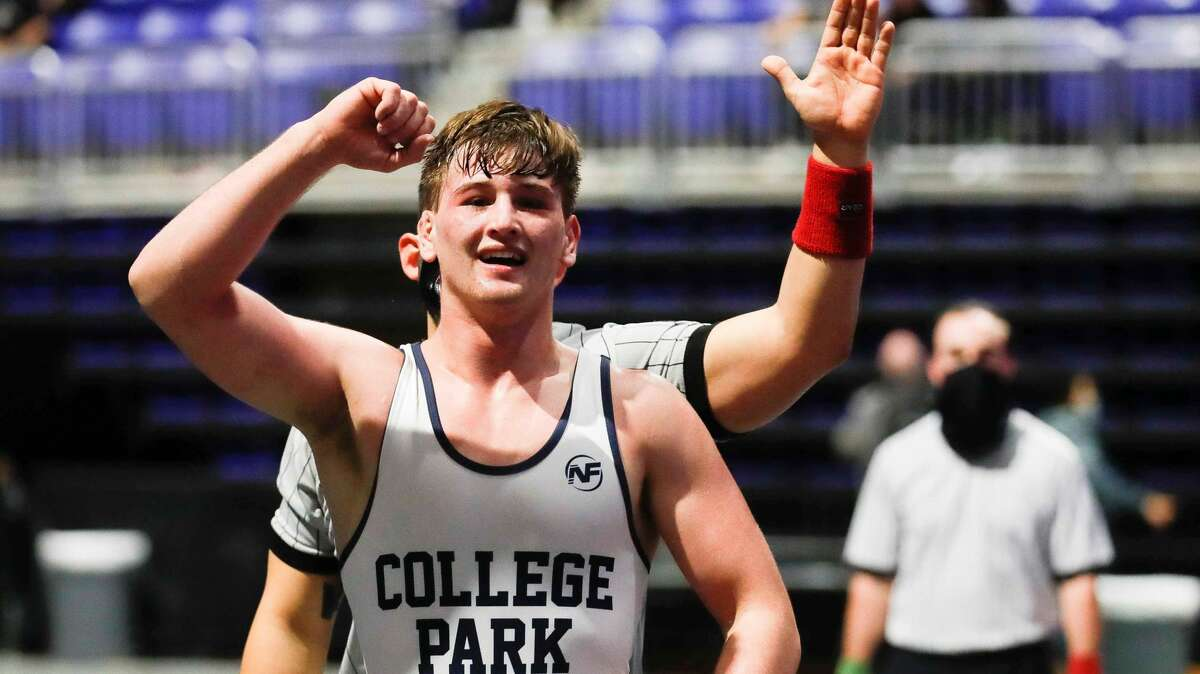 Jonathan Wertz of College Park reacts after defeating Farid Mobarak of Plano West in the Class 6A boys 182-pound championship during the UIL State Wrestling Championships, Saturday, April 24, 2021, in Cypress.