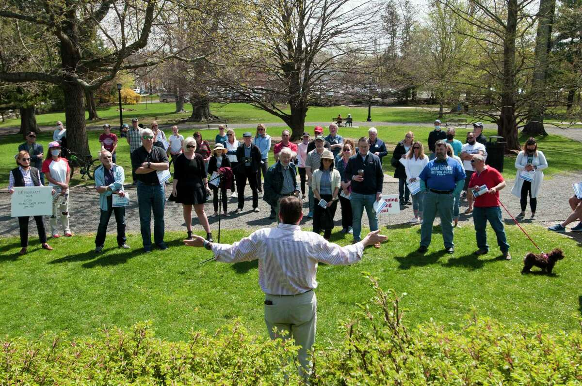 """State Rep. Tom O'Dea (R- New Canaan, Wilton) speaks during CT 169 Strong's """"Hands Off Our Zoning"""" rally at Ballard Park in Ridgefield, Conn., on Saturday April 24, 2021."""