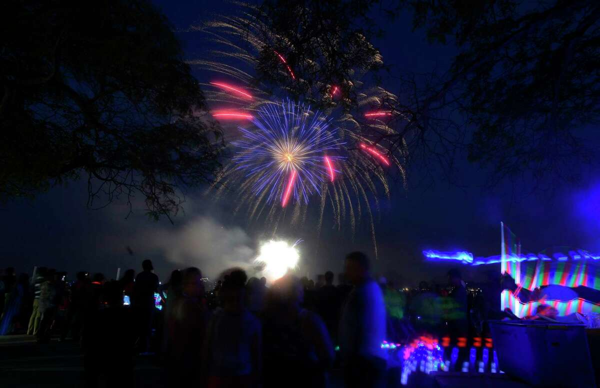 A fireworks spectacular lights up the skies over Cummings Park and Beach on Thursday, June 30, 2017 in Stamford, Connecticut. Several thousand residents weather a passing storm to take in the 20 minute show, enjoying a musical tribute, as they kick off their holiday weekend.