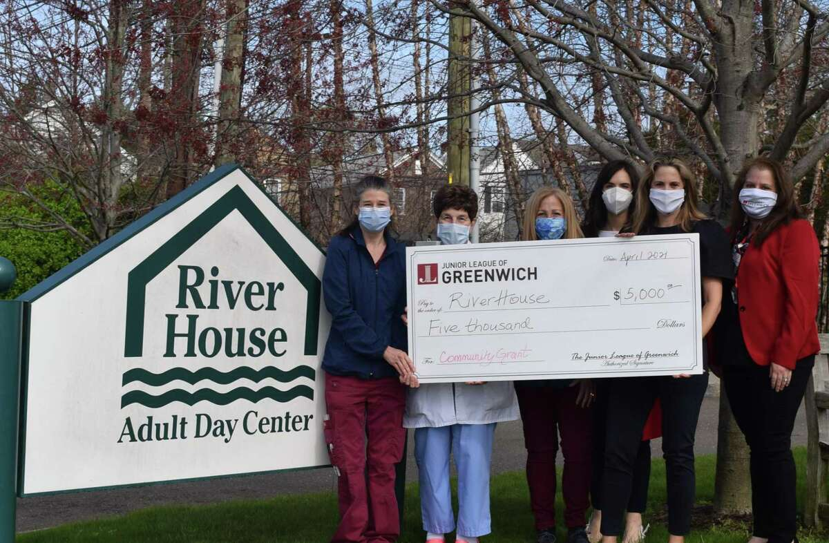 From left : Julie Bruno, RN, Program Nurse; Suzanne Darula, RN, Health Manager; Donna Spellman, MS, Executive Director; Alexis Gaventer, Karen Richard and Jennifer Behette gather as the Junior League of Greenwich awards a grant to the River House.
