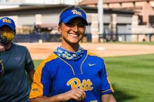 Former Troy High softball star Hunter Levesque as a Pitt Panther. (Justin M. Pondexter/Pittsburgh Athletics)