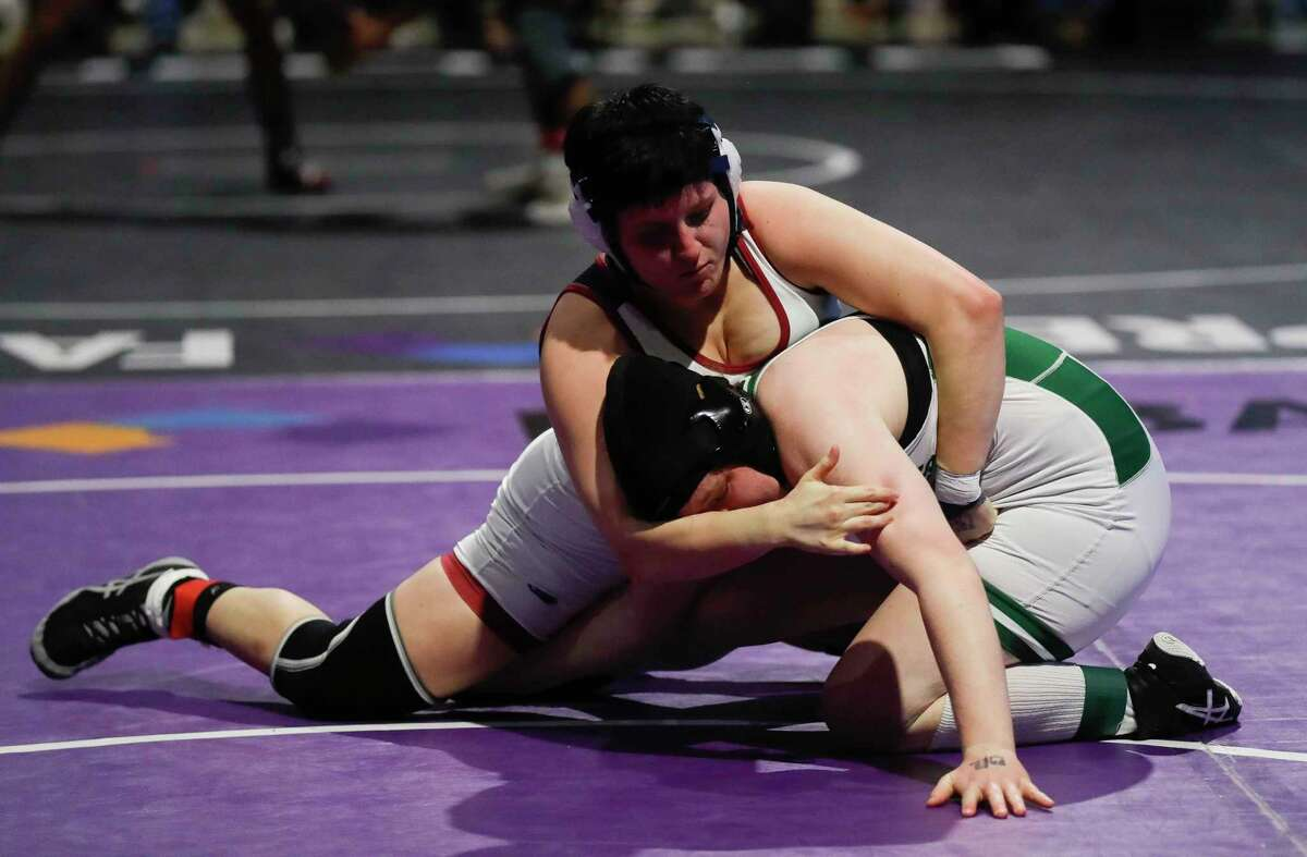 Kaitlyn Bryant of Katy Tompkins competes against Camryn Tresler of Clear Falls in the Class 6A girls 165-pound championship during the UIL State Wrestling Championships, Saturday, April 24, 2021, in Cypress.