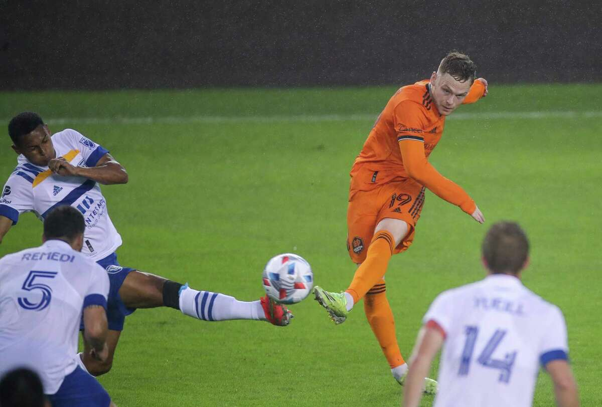 Two matches into the season, newcomer Tyler Pasher (19) has become one of the Dynamo's most dependable attacking players.