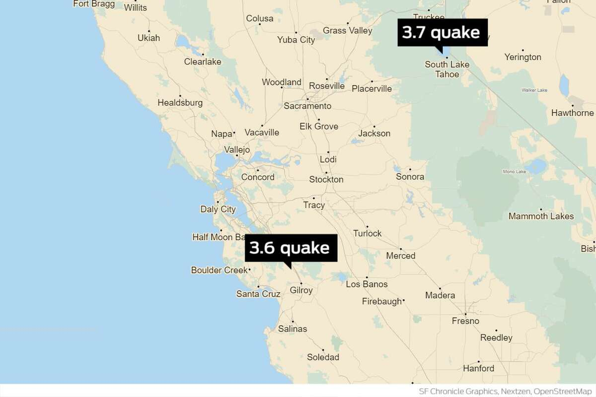 Two earthquakes occurred beneath Lake Tahoe and near Morgan Hill, according to the U.S. Geological Survey.