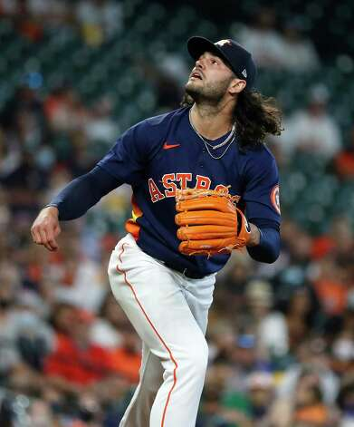 Houston Astros starting pitcher Lance McCullers Jr. (43) looks up at a foul ball during the first inning of an MLB baseball game at Minute Maid Park, Sunday, April 25, 2021, in Houston. Photo: Karen Warren, Staff Photographer / @2021 Houston Chronicle