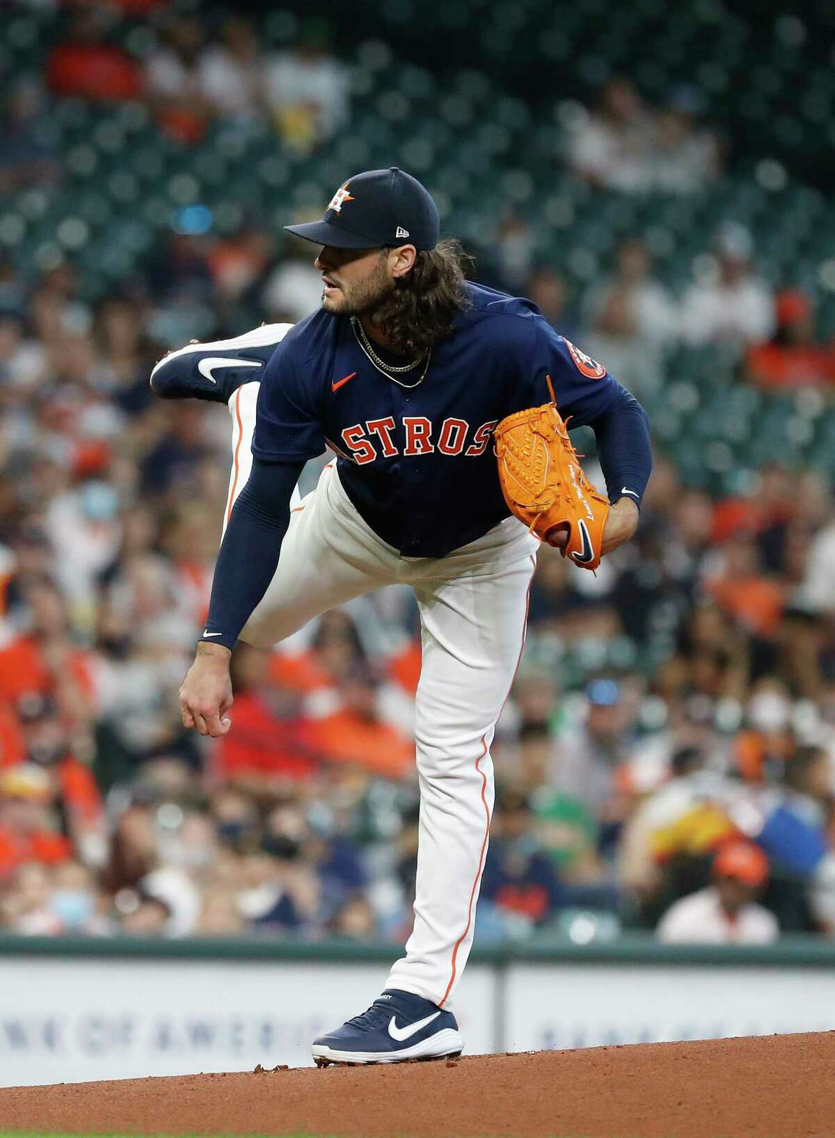 Houston Astros starting pitcher Lance McCullers Jr. (43) pitches during the first inning of an MLB baseball game at Minute Maid Park, Sunday, April 25, 2021, in Houston.