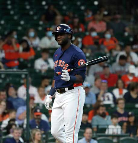 Houston Astros designated hitter Yordan Alvarez (44) reacts after striking out against Los Angeles Angels starting pitcher Dylan Bundy during the first inning of an MLB baseball game at Minute Maid Park, Sunday, April 25, 2021, in Houston. Photo: Karen Warren, Staff Photographer / @2021 Houston Chronicle