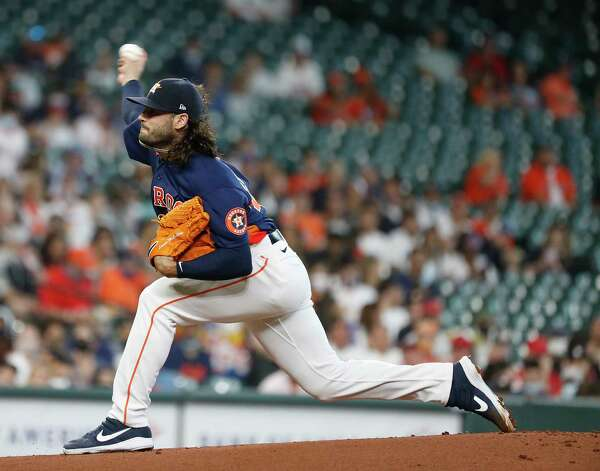 Houston Astros starting pitcher Lance McCullers Jr. (43)  pitches during the first inning of an MLB baseball game at Minute Maid Park, Sunday, April 25, 2021, in Houston. Photo: Karen Warren, Staff Photographer / @2021 Houston Chronicle