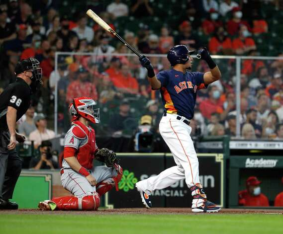 Houston Astros Michael Brantley (23) hits a double during the first inning of an MLB baseball game at Minute Maid Park, Sunday, April 25, 2021, in Houston. Photo: Karen Warren, Staff Photographer / @2021 Houston Chronicle