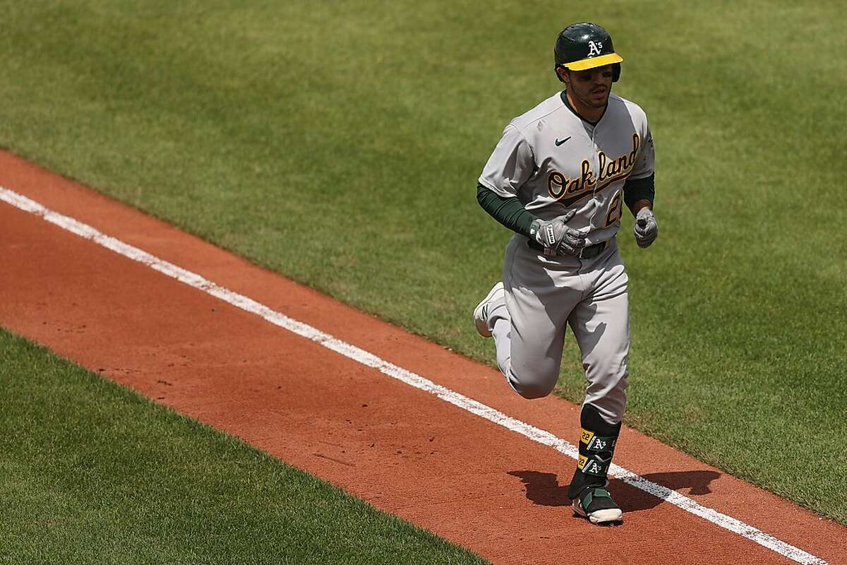 Ramon Laureano #22 of the Oakland Athletics rounds the bases after hitting a home run against the Baltimore Orioles during the fourth inning at Oriole Park at Camden Yards on April 25, 2021 in Baltimore, Maryland.