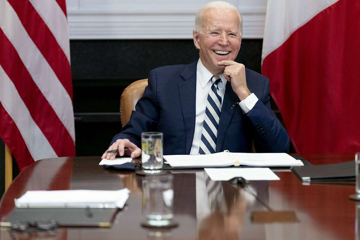 FILE - In this March 1, 2021, file photo President Joe Biden speaks during a virtual meeting with Mexican President Andres Manuel Lopez Obrador, in the Roosevelt Room of the White House in Washington. (AP Photo/Andrew Harnik, File)